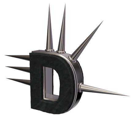 prickles: letter d with metal prickles on white background - 3d illustration