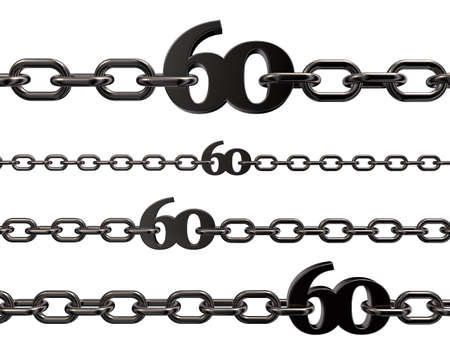 metal number sixty in chains on white background - 3d illustration Stock Illustration - 15845598