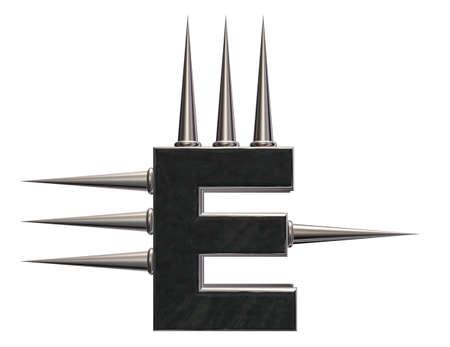 prickles: letter e with metal prickles on white background - 3d illustration