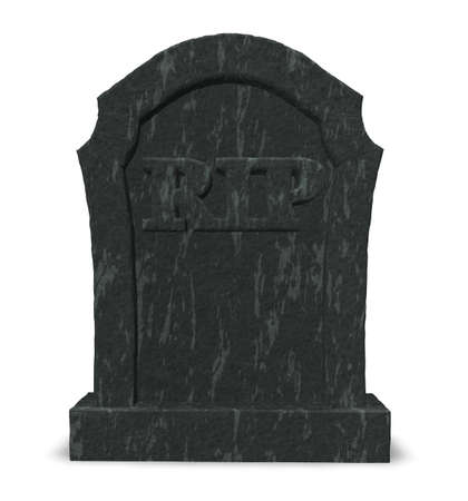 gravestone with the letters rip on white background - 3d illustration illustration