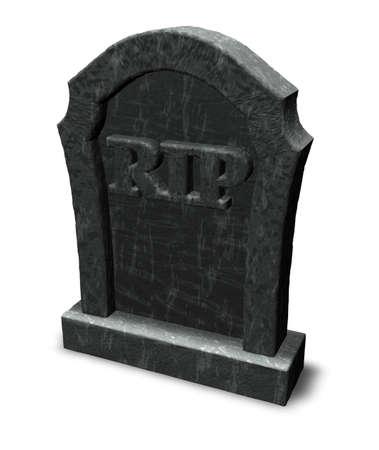 grafsteen met de letters rip op witte achtergrond - 3d illustratie Stockfoto