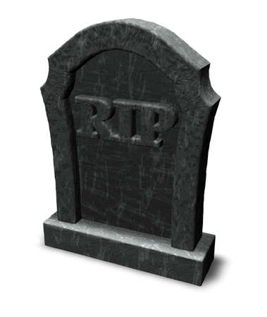 gravestone: gravestone with the letters rip on white background - 3d illustration