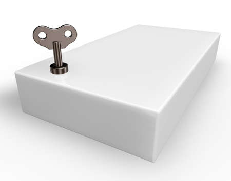 windup: box with wind-up key - 3d illustration Stock Photo