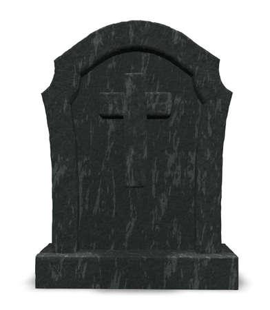 gravestone with cross symbol - 3d illustration Stock Photo