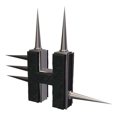 prickles: letter h with metal prickles on white background - 3d illustration
