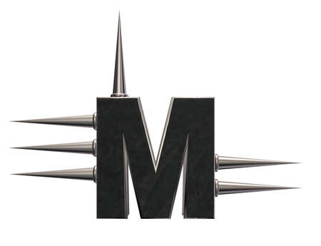 prickles: letter m with metal prickles on white background - 3d illustration