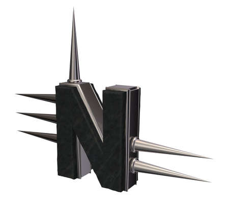 letter n with metal prickles on white background - 3d illustration illustration