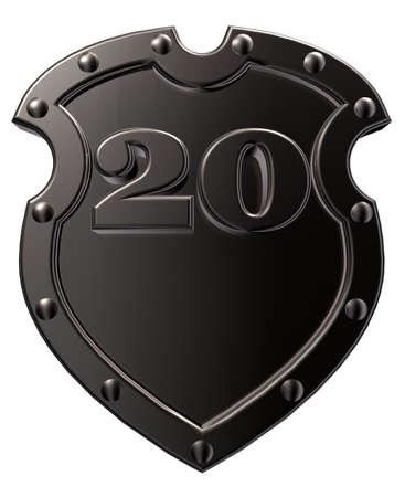 Caja met�lica con el n�mero veinte - 20 - sobre fondo blanco - ilustraci�n 3d Foto de archivo - 15863892