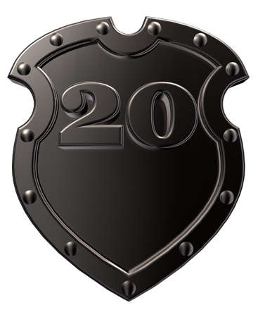 Caja metálica con el número veinte - 20 - sobre fondo blanco - ilustración 3d Foto de archivo - 15863892