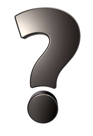 metal question mark on white background - 3d illustration