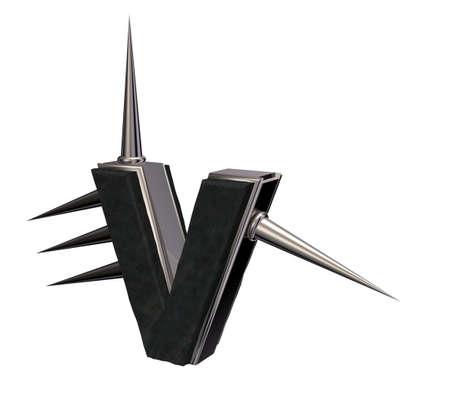 金属文字 v ちくちく白い背景の 3 d 図