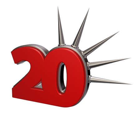 prickles: number twenty with prickles on white background - 3d illustration