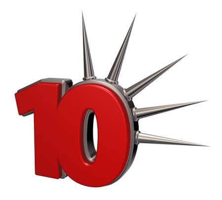 prickles: number ten with prickles on white background - 3d illustration