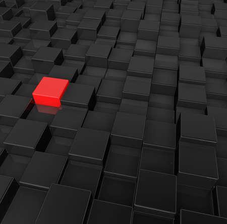 stranger: black and red cubes background - 3d illustration