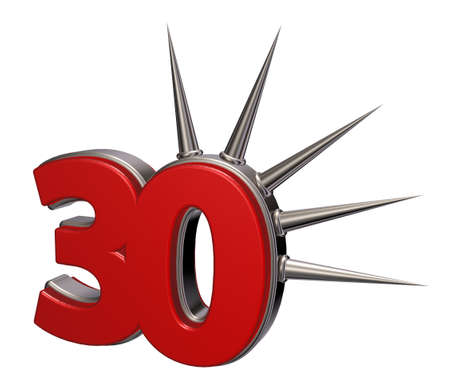 thirty: number thirty with prickles on white background - 3d illustration
