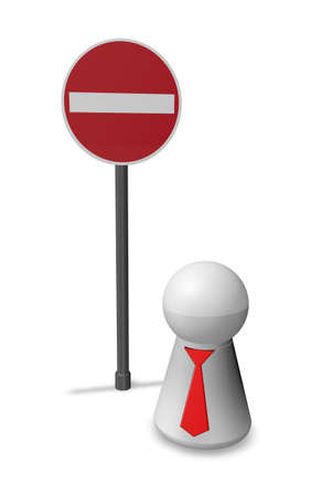 do not enter - roadsign and simple character with tie - 3d illustration illustration
