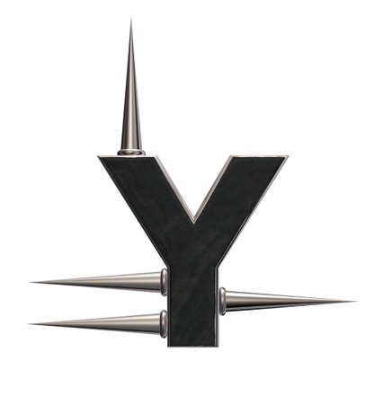 letter y with metal prickles on white background - 3d illustration illustration