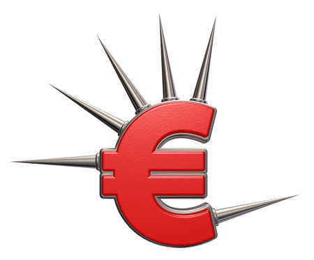 prickles: euro symbol with prickles on white background - 3d illustration