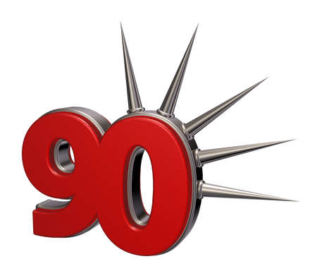 prickles: number ninety with prickles on white background - 3d illustration Stock Photo