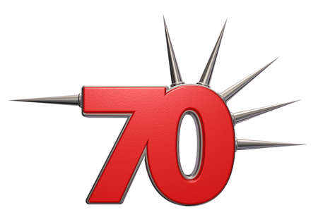 seventy: number seventy with prickles on white background - 3d illustration