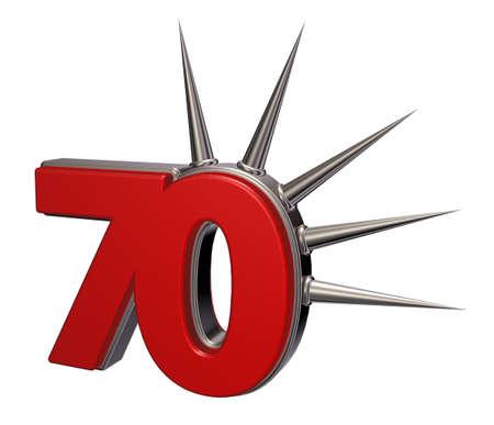 seventy: 70 numero con spine su sfondo bianco - 3d illustrazione