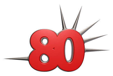 prickles: number eighty with prickles on white background - 3d illustration