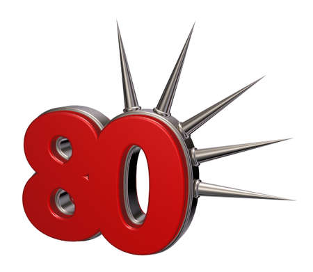 eighty: number eighty with prickles on white background - 3d illustration