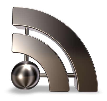 flux: metal rss symbol on white background - 3d illustration Stock Photo