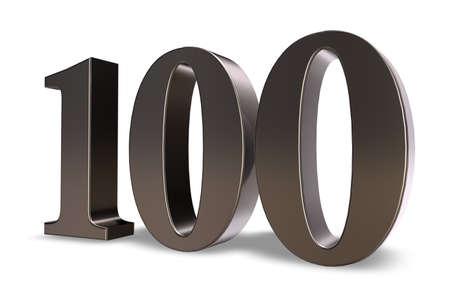 metal number one hundred on white background - 3d illustration