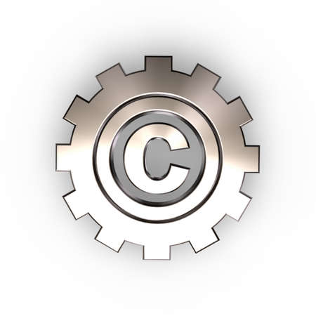 ownership: copyright symbol in gear wheel - 3d illustration
