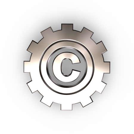 trademark: copyright symbol in gear wheel - 3d illustration