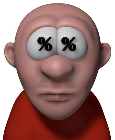cent: cartoon guy with per cent symbol in his eyes - 3d illustration