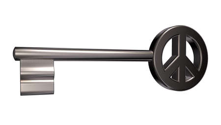 disarmament: key with peace symbol on white background - 3d illustration Stock Photo
