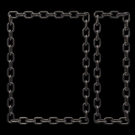 metal chains frame border on black background - 3d illustration Stock Illustration - 15976374
