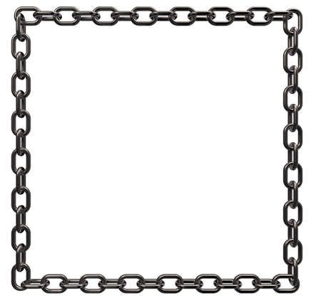 metal chains frame border on white background - 3d illustration