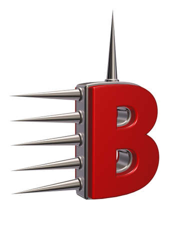prickles: letter b with metal prickles on white background - 3d illustration Stock Photo