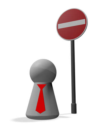 do not enter - roadsign and simple character with tie - 3d illustration Stock Illustration - 16061622
