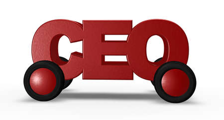 ceo: ceo tag on wheels - 3d illustration