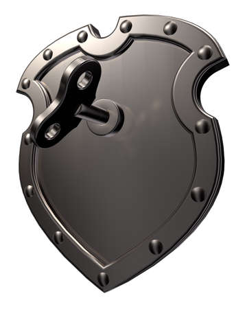 metal shield with wind-up key on white background - 3d illustration illustration