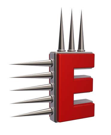 金属の付いた e ちくちく白い背景の 3 d 図