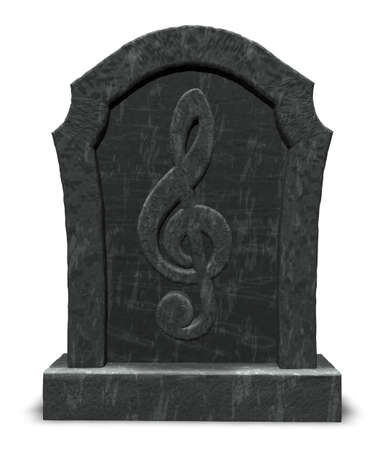 gravestone with clef symbol - 3d illustration illustration