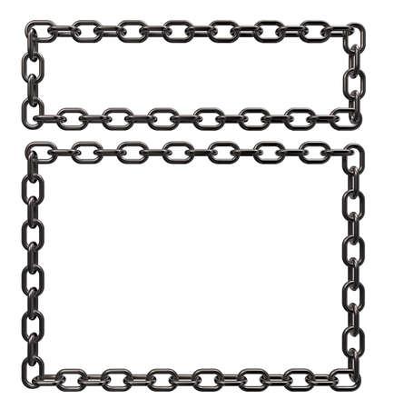 metal chains frame border on white background - 3d illustration Stock Illustration - 16061643