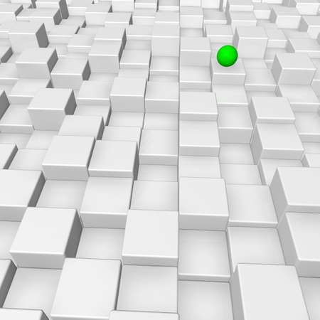 green sphere on white cubes surface - 3d illustration illustration