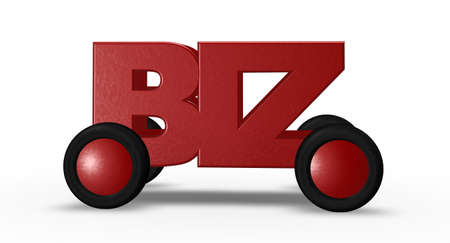 letters biz on wheels - 3d illustration Stock Illustration - 16061647