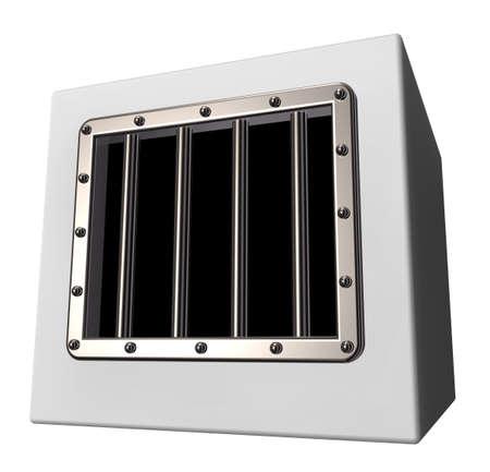 box with prison window - 3d illustration Stock Photo