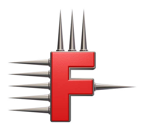prickles: letter f with metal prickles on white background - 3d illustration
