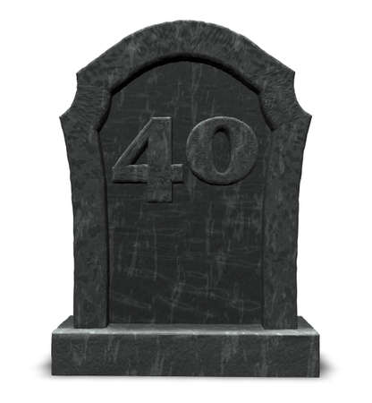 forty: gravestone with number forty on white background - 3d illustration