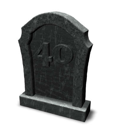 gravestone with number forty on white background - 3d illustration illustration