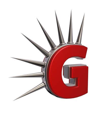 prickles: letter g with metal prickles on white background - 3d illustration