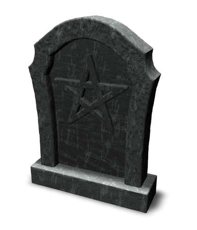 pentacle on gravestone - 3d illustration illustration